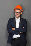 Young businessman wear a safety helmet Royalty Free Stock Photos