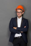 Young businessman wear a safety helmet Stock Image