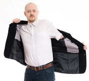 Man wearing his jacket Stock Photography