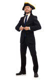 The young businessman wearing tricorn isolated on white Royalty Free Stock Photography