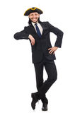 The young businessman wearing tricorn isolated on white Stock Photography