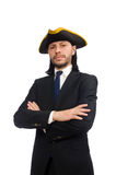 The young businessman wearing tricorn isolated on white Stock Images