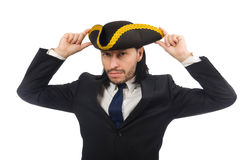 The young businessman wearing tricorn isolated on white Stock Photo