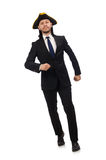 The young businessman wearing tricorn isolated on white Royalty Free Stock Images