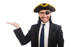 The young businessman wearing tricorn isolated on white Stock Image