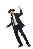 The young businessman wearing tricorn isolated on white Royalty Free Stock Photo