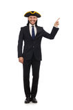 Young businessman wearing tricorn isolated on white Royalty Free Stock Photos