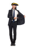 Young businessman wearing tricorn isolated on white Stock Images