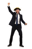 Young businessman wearing tricorn isolated on white Royalty Free Stock Photography