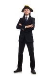 The young businessman wearing tricorn isolated on white Stock Photos