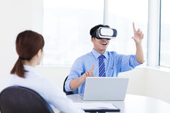 Young Businessman wearing vrl glass at conference office Royalty Free Stock Image