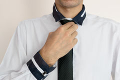Young businessman Wearing a white shirt. And black tie Stock Images