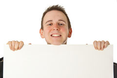 Young businessman with white board Royalty Free Stock Images