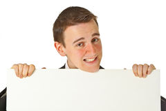 Young businessman with white board Stock Photo