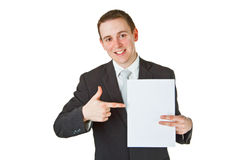 Young businessman with white paper Stock Images