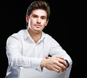 Young businessman in white shirt Stock Photos