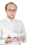 Young businessman in white shirt with notebook Royalty Free Stock Photography