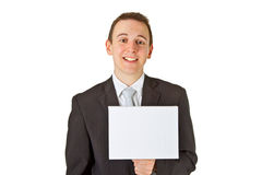 Young Businessman With Blank Screen Royalty Free Stock Image