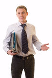 Young Businessman With Documents Stock Photo