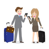 Young businessman and woman holding cell phone with luggage  on white background Royalty Free Stock Images