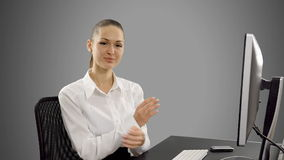 Young businessman working on computer at desk. stock footage