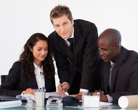 Young businessman working with his team Royalty Free Stock Image