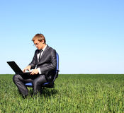 Young businessman working outdoor Stock Images