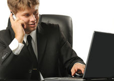 The young businessman on a workplace Royalty Free Stock Photos