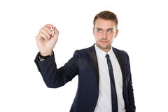Young businessman writing on virtual screen Stock Images