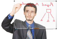 Young businessman writing on whiteboard Royalty Free Stock Photos