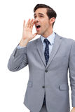 Young businessman yelling Stock Photo