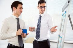 Young businessmen discussing a project. Young businessmen discussing a new project at modern office Stock Photos