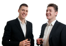 Young businessmen whisky Stock Photography