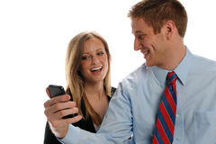 Young Businesspeople with cell phone Royalty Free Stock Photos