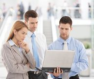 Young businesspeople looking at laptop screen. Team of young businesspeople looking at laptop screen, standing in modern office lobby Stock Images