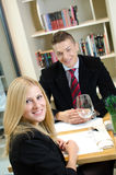 Young businesspeople in a restaurant Stock Image