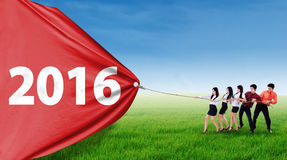 Young businesspeople takeover flag with numbers 2016. Group of five young entrepreneur pulling a big banner with numbers 2016 on the meadow Royalty Free Stock Photography