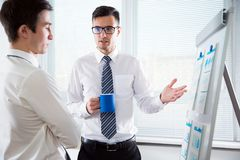 Young businesspeople are working in the office. Using a flipchart Royalty Free Stock Photo