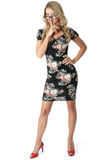 Young Businesss Woman Short Mini Dress Royalty Free Stock Photography