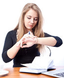 Young businesswoman. Secretary or student with laptop and diary, isolated Royalty Free Stock Images