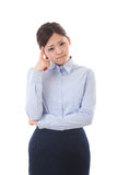 Young businesswoman. The young businesswoman who is troubled Stock Photography