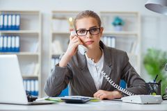 The young businesswoman accountant working in the office Stock Image