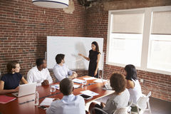 Young Businesswoman Addressing Boardroom Meeting Royalty Free Stock Photos