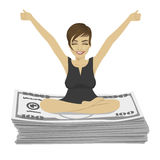 Young businesswoman with arms up celebrating her success sitting on dollar bills stack Stock Photography