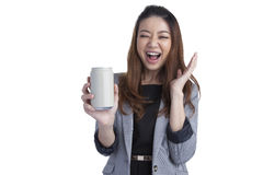 Young businesswoman attractive cheerful for a can of soft drink Royalty Free Stock Photos