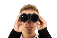 Young businesswoman with a binocular Stock Photos