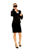 Young businesswoman with a binocular Royalty Free Stock Photography