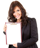 Young businesswoman with blank clipboard Royalty Free Stock Images