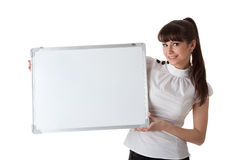 Young businesswoman with blank sign Royalty Free Stock Image