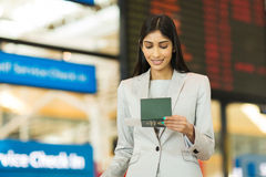 Young businesswoman boarding pass Royalty Free Stock Photos